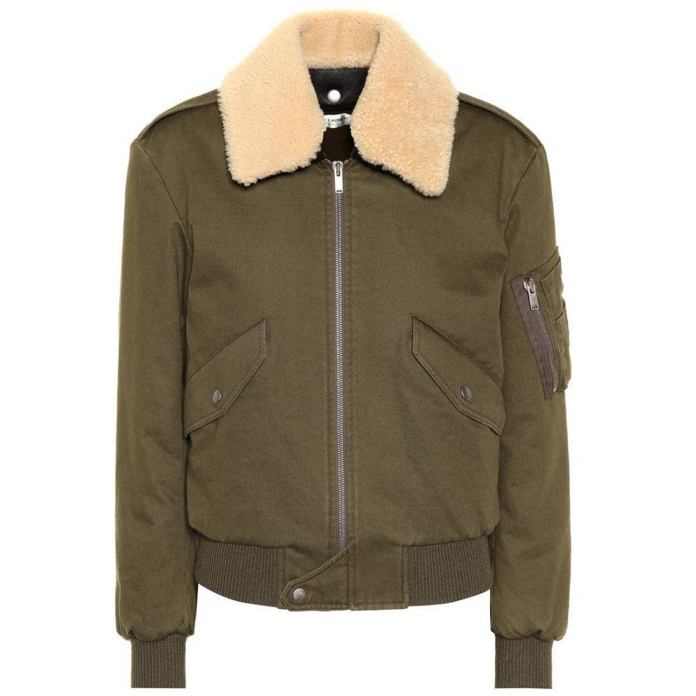 イヴ サンローラン Saint Laurent レディース ブルゾン ミリタリージャケット アウター【Shearling-trimmed bomber jacket】Khaki
