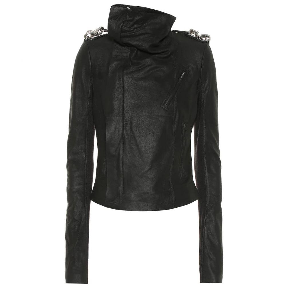 リック オウエンス Rick Owens レディース レザージャケット ライダース アウター【Embellished Biker leather jacket】Black