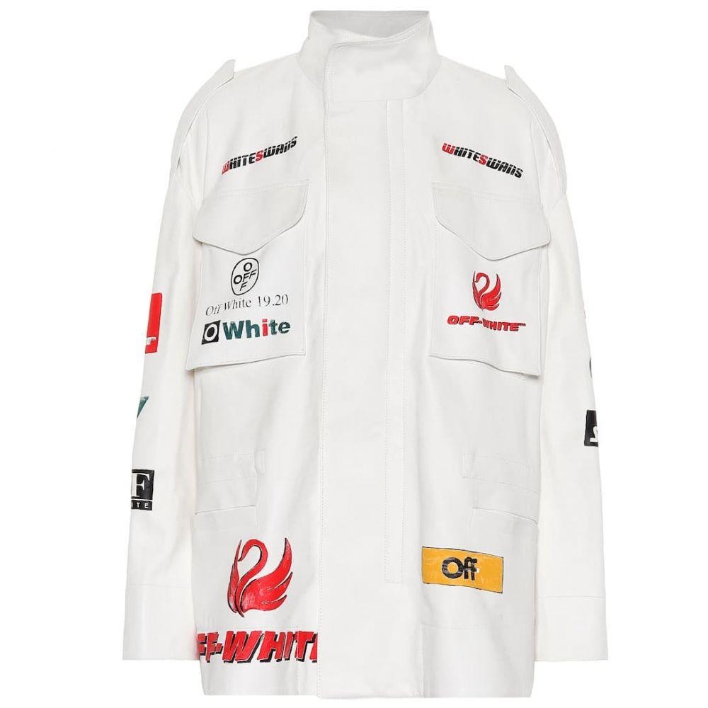 オフホワイト Off-White レディース レザージャケット アウター【Logo leather jacket】White
