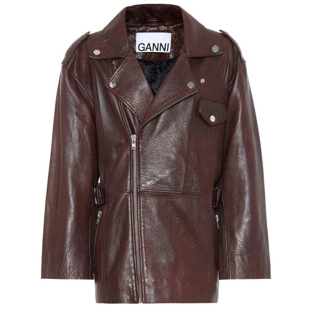 ガニー Ganni レディース レザージャケット アウター【Leather jacket】Chicory Coffee