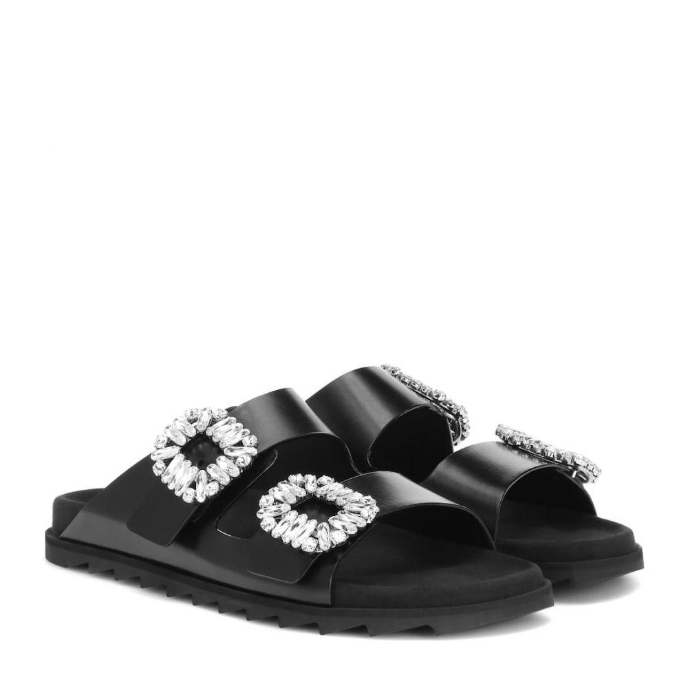 ロジェ ヴィヴィエ Roger Vivier レディース サンダル・ミュール シューズ・靴【Slidy Viv' leather slides】Nero