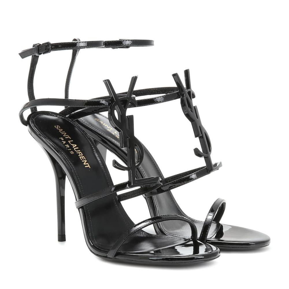 イヴ サンローラン Saint Laurent レディース サンダル・ミュール シューズ・靴【Cassandra 110 patent leather sandals】Noir
