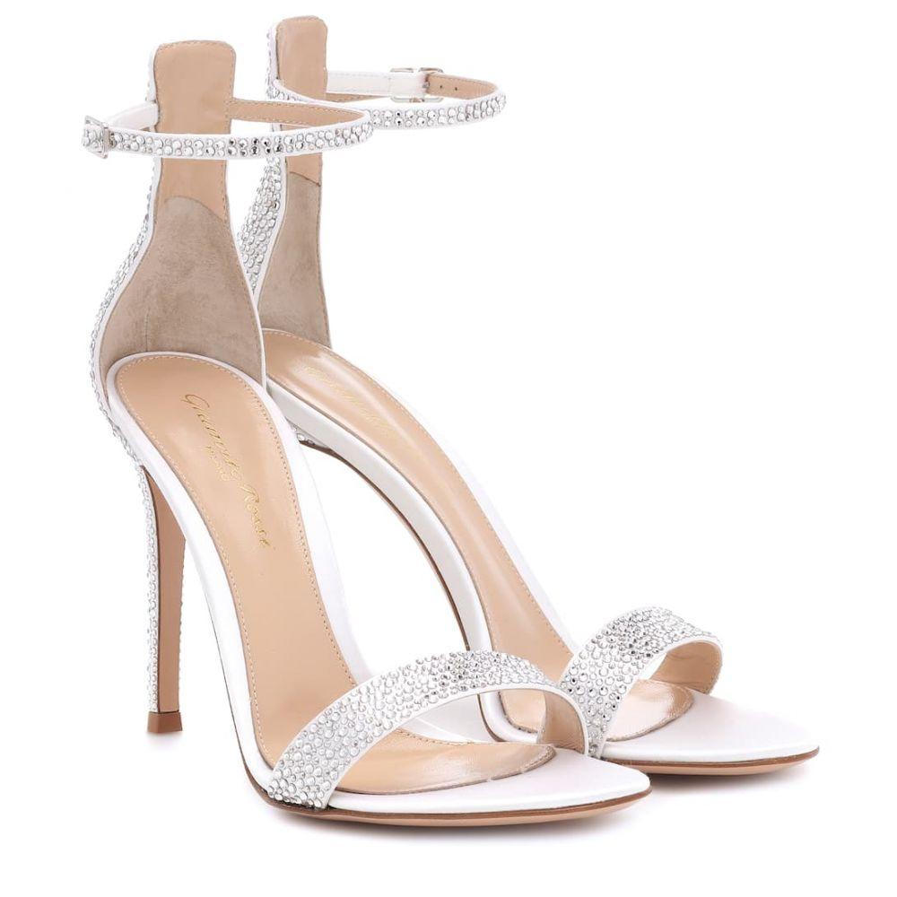 ジャンヴィト ロッシ Gianvito Rossi レディース サンダル・ミュール シューズ・靴【Glam 105 embellished satin sandals】white