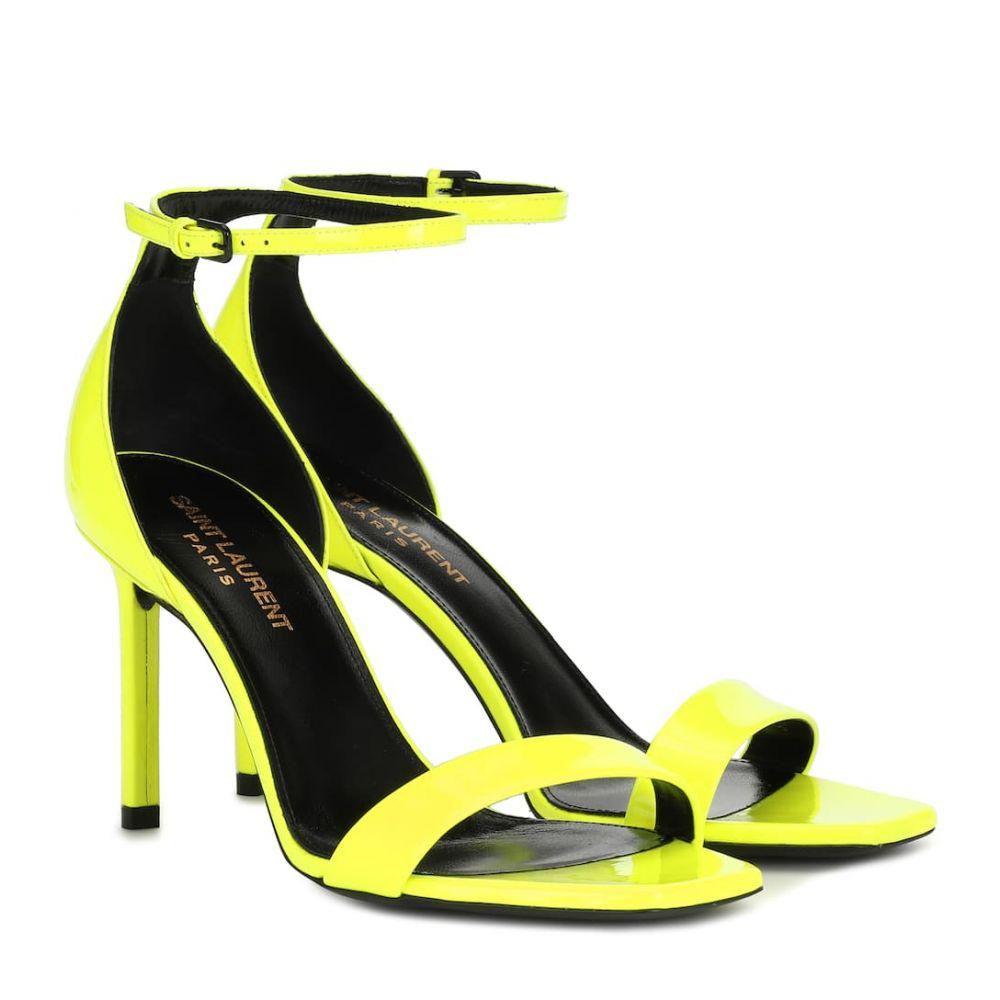 イヴ サンローラン Saint Laurent レディース サンダル・ミュール シューズ・靴【Amber 105 patent leather sandals】Jaune Fluo