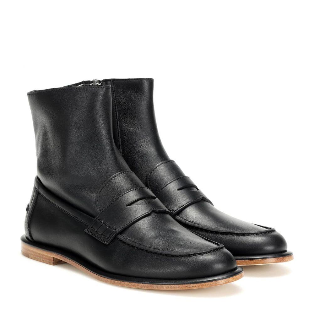 ロエベ Loewe レディース ブーツ ショートブーツ シューズ・靴【Leather loafer ankle boots】Black