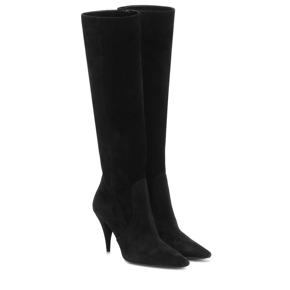 イヴ サンローラン Saint Laurent レディース ブーツ シューズ・靴【Kiki 85 suede knee-high boots】Noir