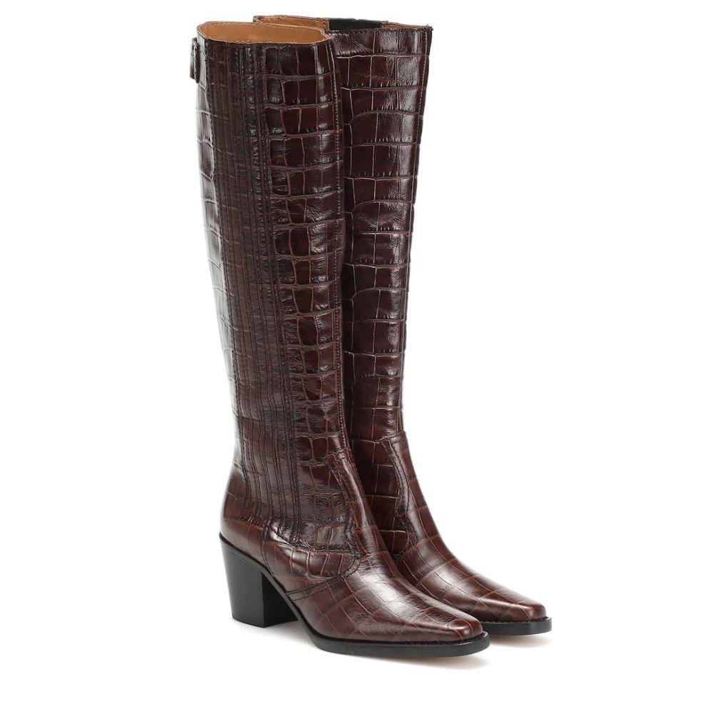 ガニー Ganni レディース ブーツ ウェスタンブーツ シューズ・靴【Western knee-high leather boots】Chicory Coffee