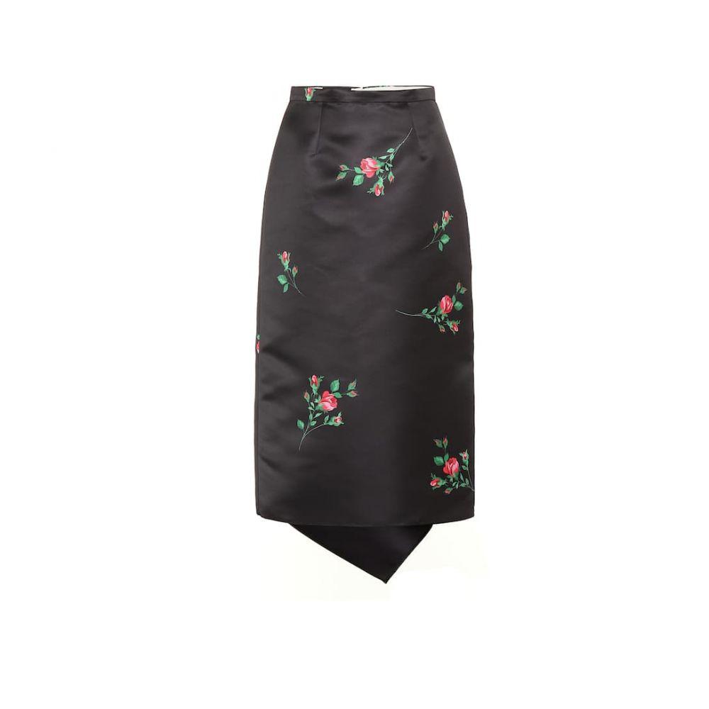 ロシャス Rochas レディース ひざ丈スカート スカート【Floral satin midi skirt】Black