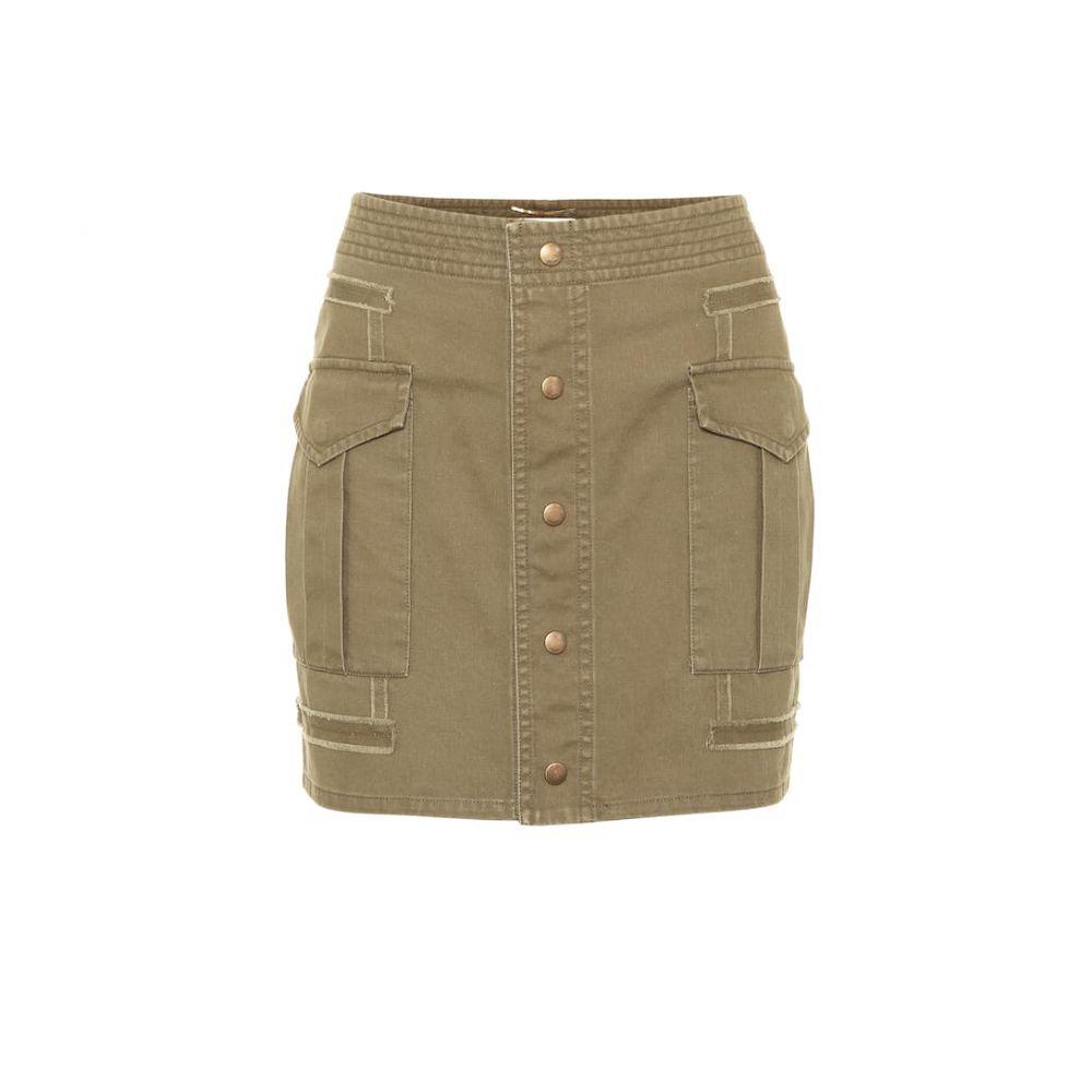 イヴ サンローラン Saint Laurent レディース ミニスカート スカート【Cotton gabardine miniskirt】Olive