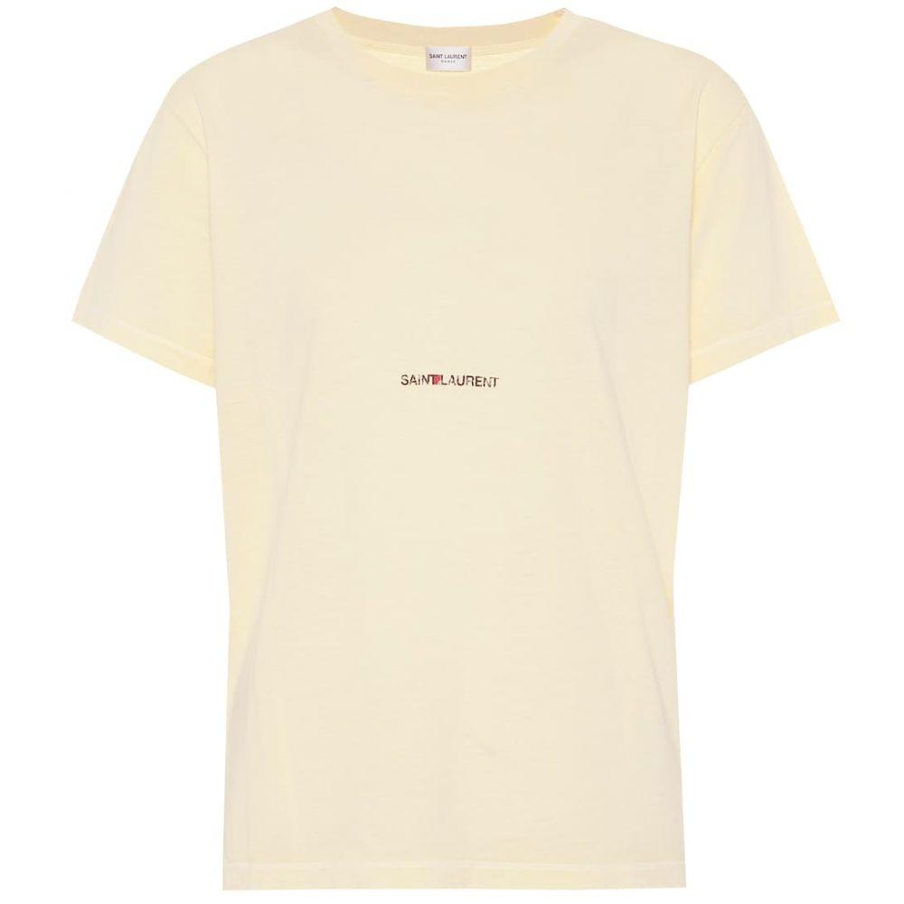 イヴ サンローラン Saint Laurent レディース Tシャツ トップス【Cotton T-shirt】Jaune Pale/Noir