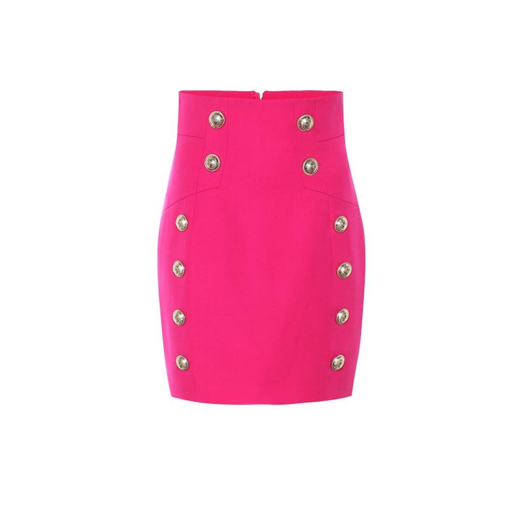 バルマン Balmain レディース ミニスカート スカート【High-rise wool miniskirt】Rose Fuchsia