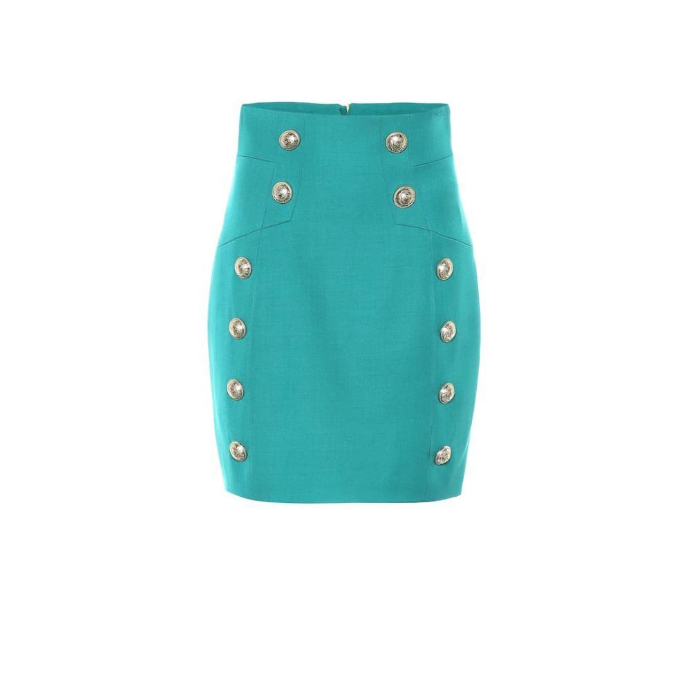 バルマン Balmain レディース ミニスカート スカート【High-rise wool miniskirt】Vert Emeraude