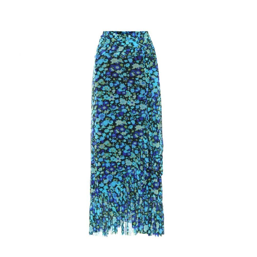 ガニー Ganni レディース ひざ丈スカート ラップスカート スカート【Floral mesh midi wrap skirt】Azure Blue