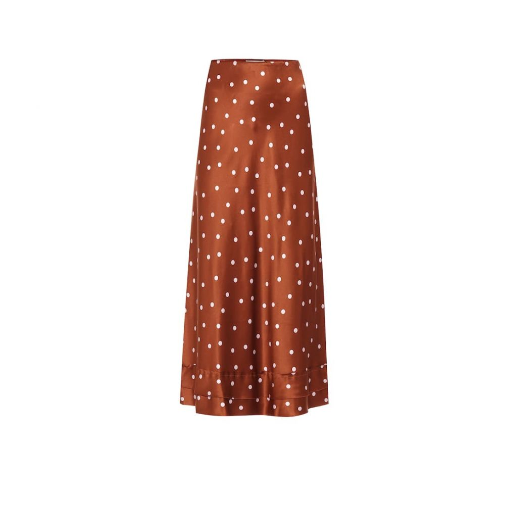 リーマシューズ Lee Mathews レディース ひざ丈スカート スカート【Talulah polka-dot silk-satin skirt】Copper