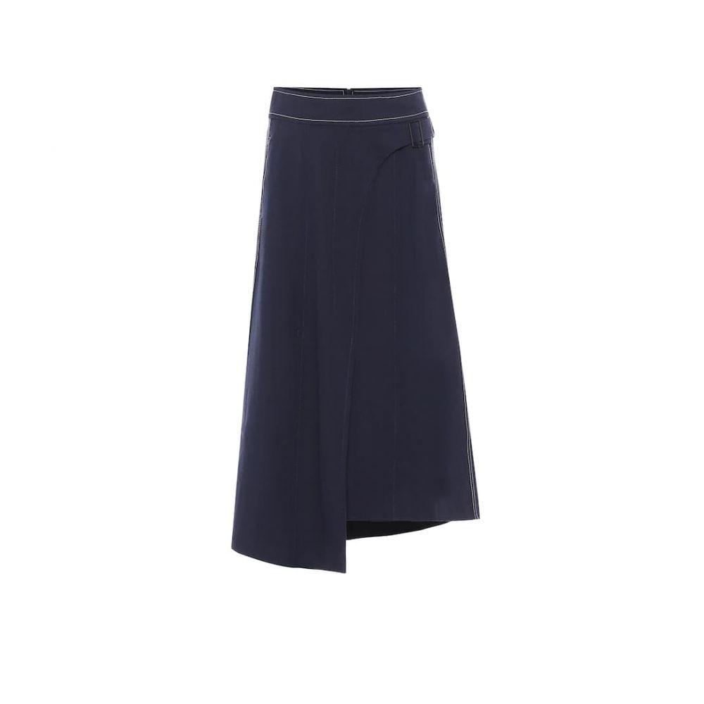 コロボス COLOVOS レディース ひざ丈スカート スカート【x Woolmark wool-blend skirt】Dark Blue
