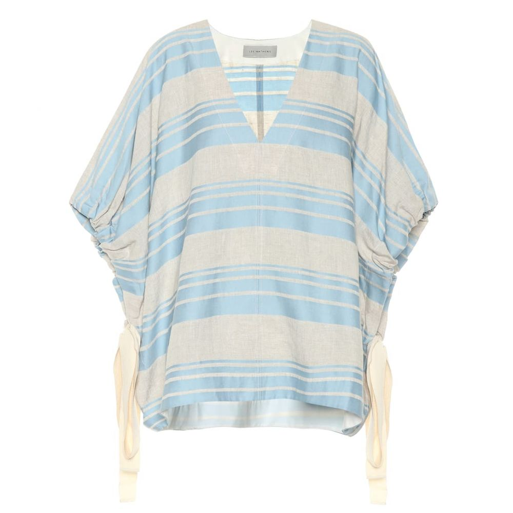 リーマシューズ Lee Mathews レディース トップス 【Tilda striped linen and cotton top】Celadon Bluue
