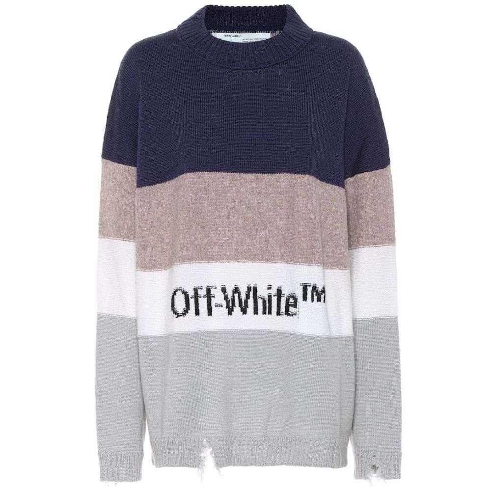 オフホワイト レディース トップス ニット・セーター 【サイズ交換無料】 オフホワイト Off-White レディース ニット・セーター トップス【Wool and cotton-blend sweater】Blue Black