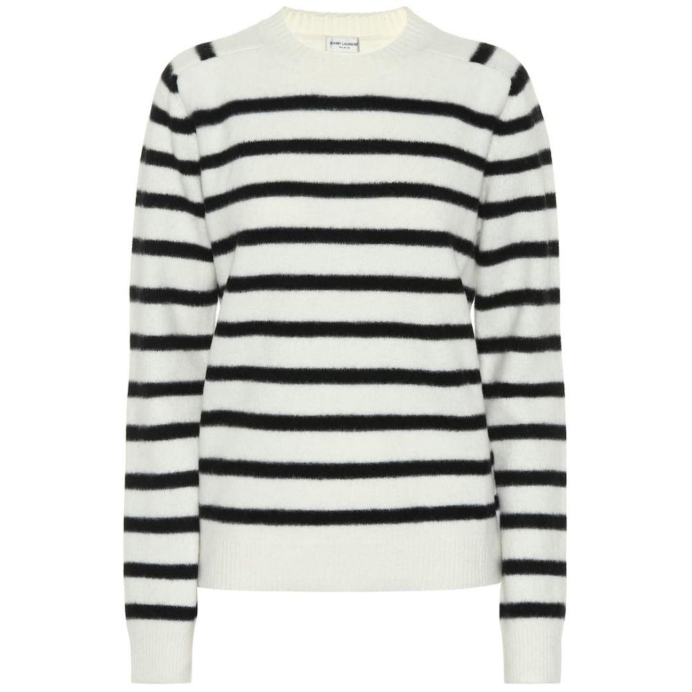 イヴ サンローラン Saint Laurent レディース ニット・セーター トップス【Striped wool sweater】Naturel Noir