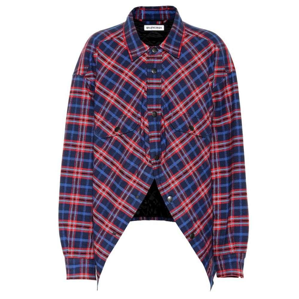 バレンシアガ Balenciaga レディース ブラウス・シャツ トップス【Swing checked cotton shirt】Blue/Red