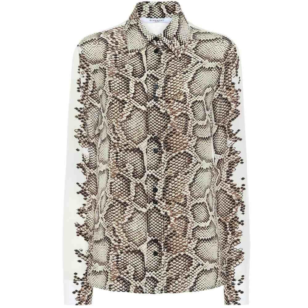ジバンシー Givenchy レディース ブラウス・シャツ トップス【Snake-print silk shirt】Natural/Brown