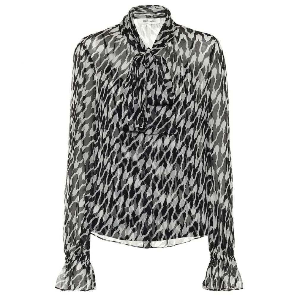ダイアン フォン ファステンバーグ Diane von Furstenberg レディース ブラウス・シャツ トップス【Tina printed silk blouse】Empire houndsth