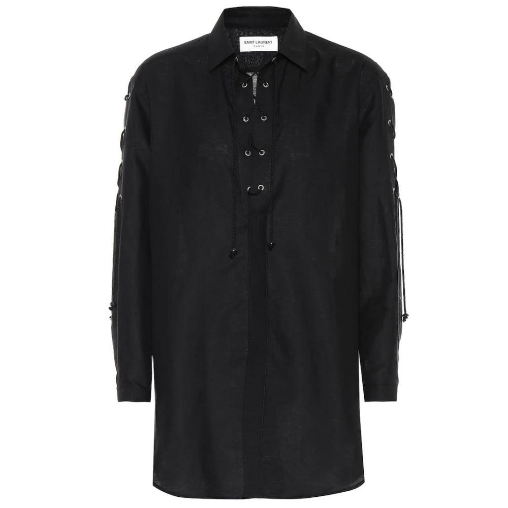 イヴ サンローラン Saint Laurent レディース ブラウス・シャツ トップス【Cotton and linen shirt】Noir