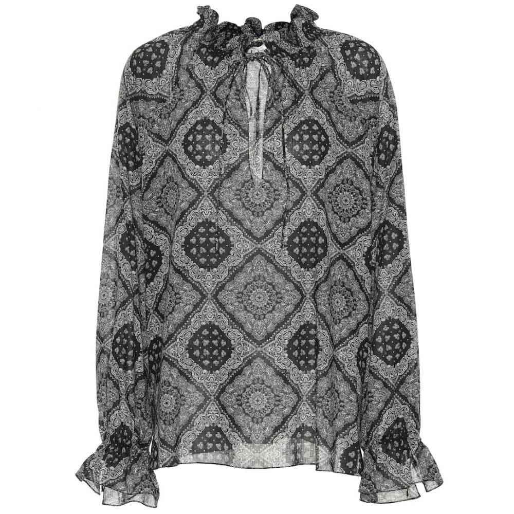 イヴ サンローラン Saint Laurent レディース ブラウス・シャツ トップス【Printed cotton blouse】Noir Off White