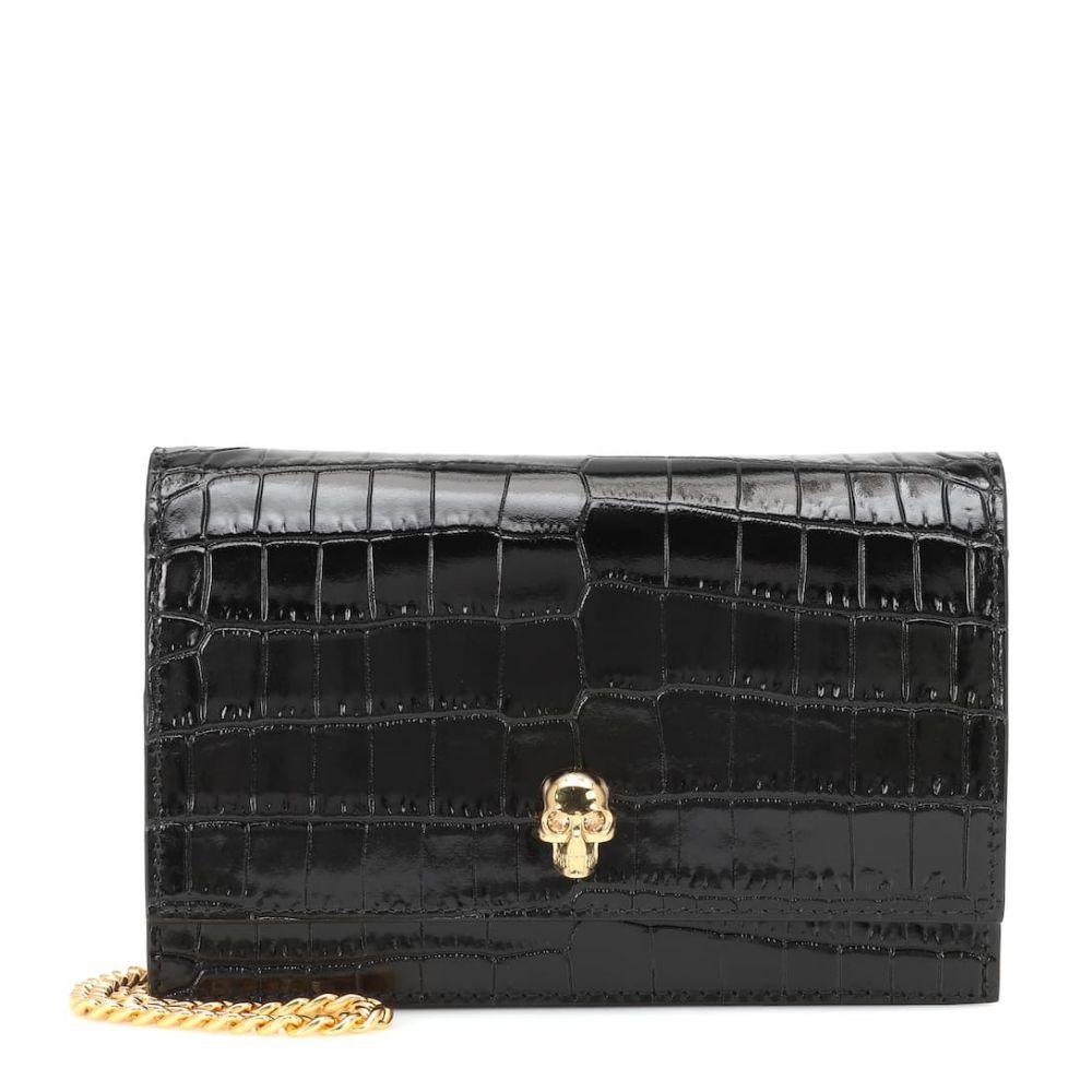 アレキサンダー マックイーン Alexander McQueen レディース ショルダーバッグ バッグ【Skull Mini croc-effect shoulder bag】Black
