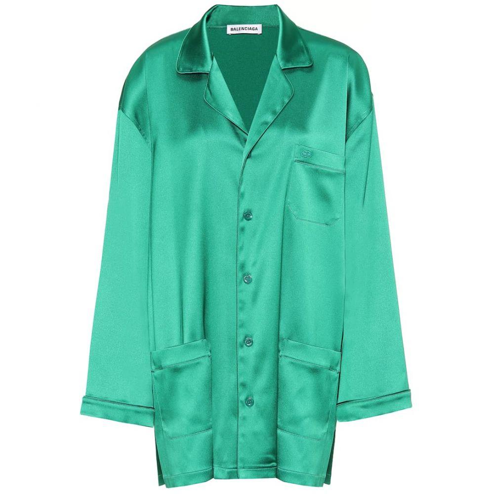 バレンシアガ Balenciaga レディース ブラウス・シャツ トップス【Oversized satin pajama shirt】Emerald