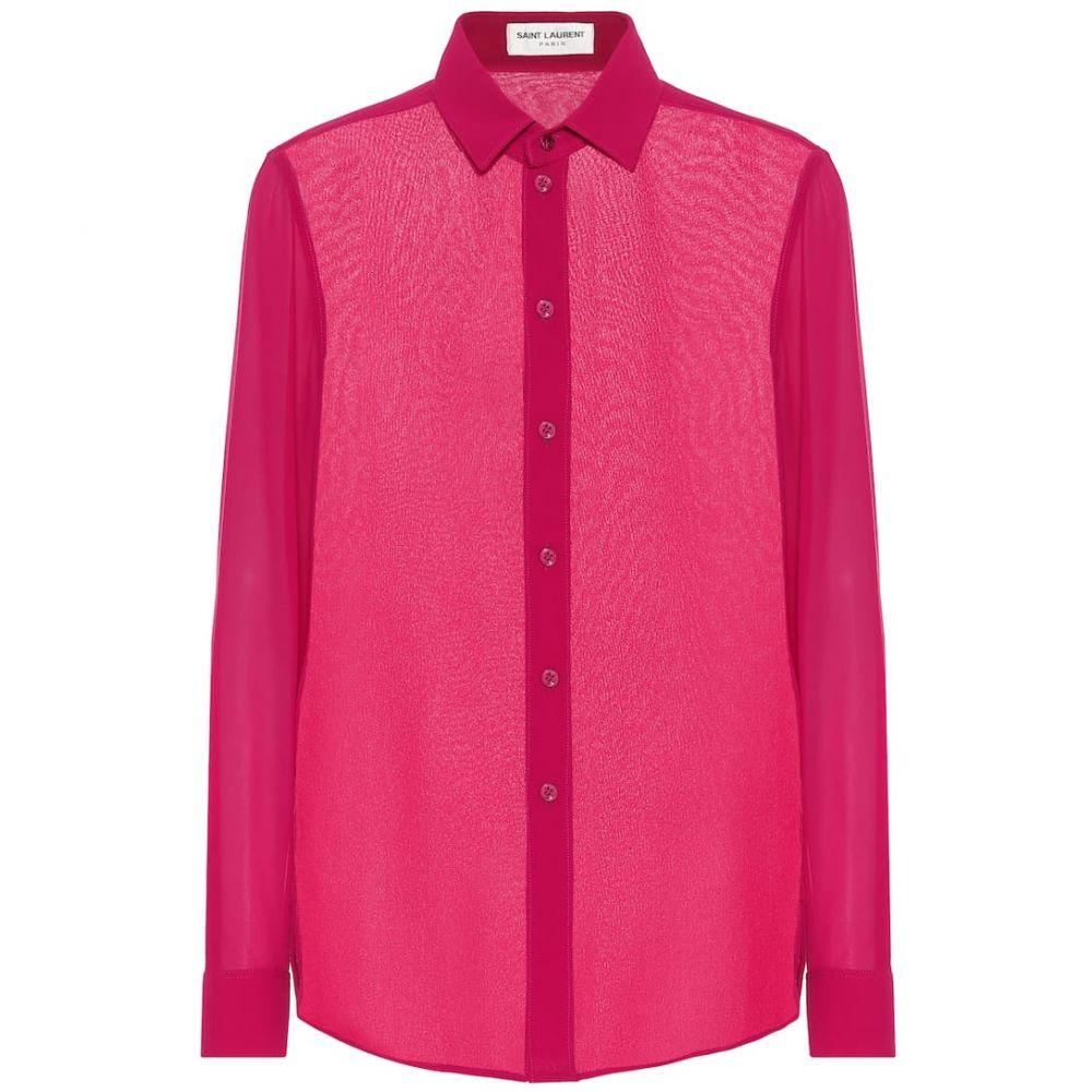 イヴ サンローラン Saint Laurent レディース ブラウス・シャツ トップス【Silk-georgette blouse】Fushia