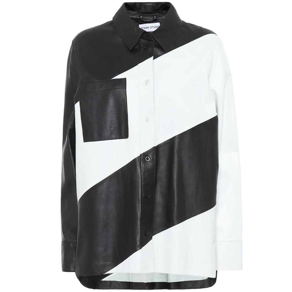 スタンドスタジオ Stand Studio レディース ブラウス・シャツ トップス【Mila leather shirt】Black White