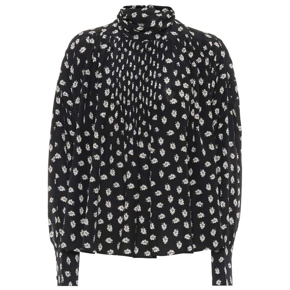 イザベル マラン レディース トップス ブラウス シャツ サイズ交換無料 Isabel Marant floral Black silk 販売実績No.1 blouse Cecilie 正規取扱店