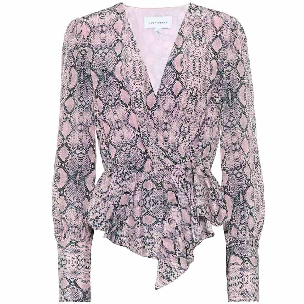レ レヴェリズ Les Reveries レディース ブラウス・シャツ トップス【Snake-print silk blouse】Phyton Pink