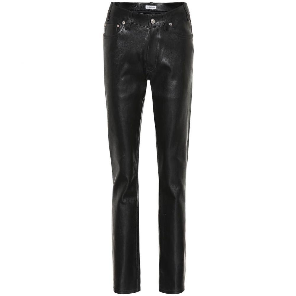 バレンシアガ Balenciaga レディース ボトムス・パンツ レザーパンツ【High-rise leather pants】Black