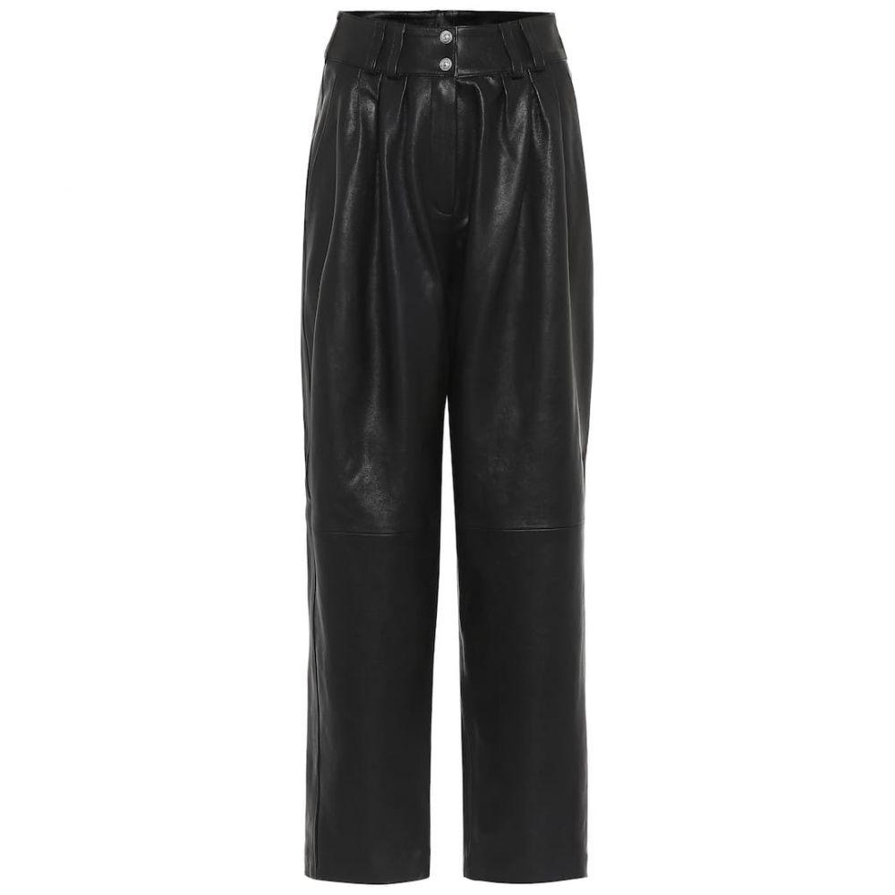 バルマン Balmain レディース ボトムス・パンツ レザーパンツ【High-rise leather straight pants】Noir