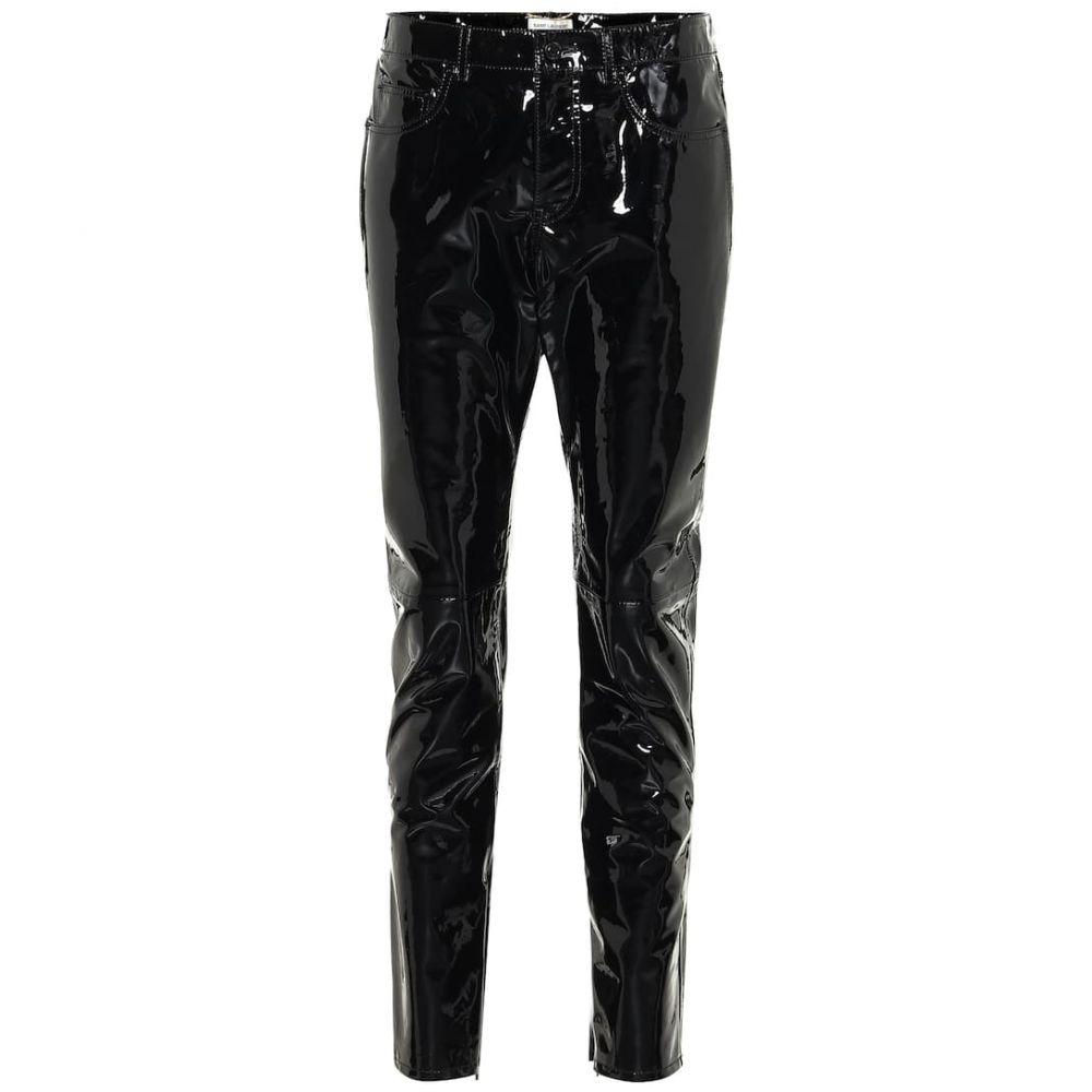 イヴ サンローラン Saint Laurent レディース スキニー・スリム ボトムス・パンツ【Patent-leather skinny pants】Black