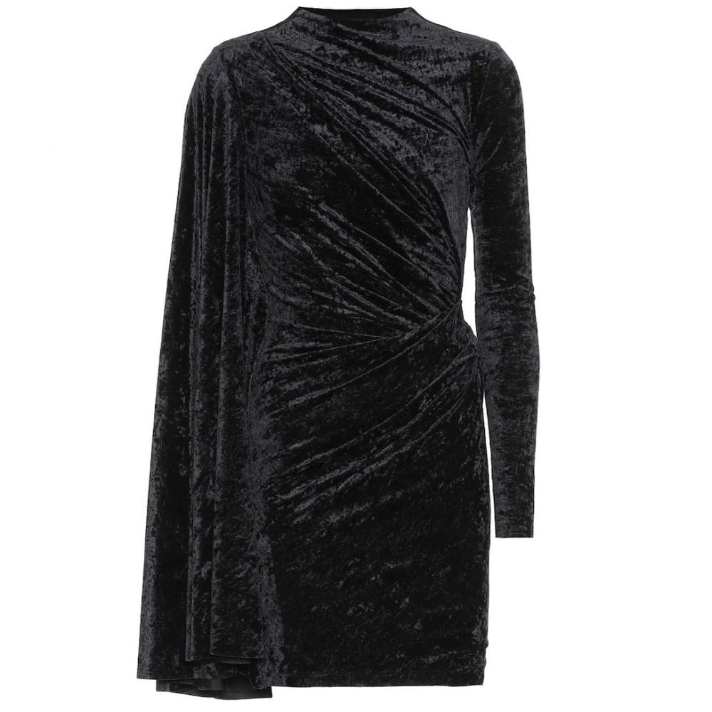 バレンシアガ Balenciaga レディース パーティードレス ワンピース・ドレス【Crushed velvet minidress】Black