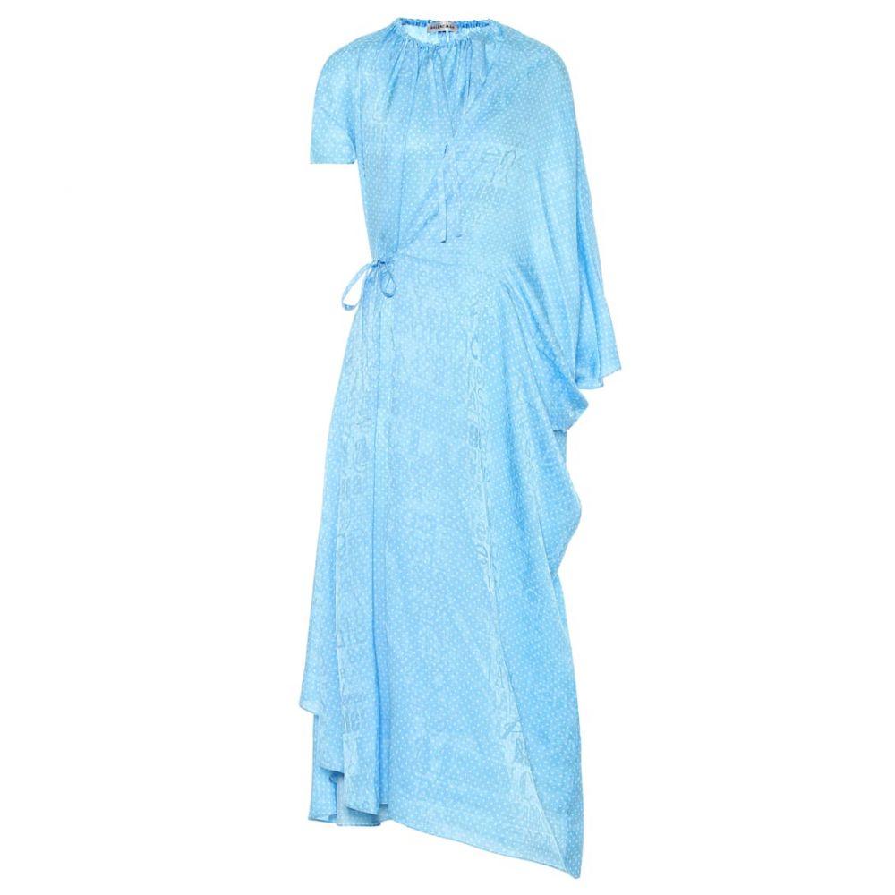 バレンシアガ Balenciaga レディース ワンピース ミドル丈 ワンピース・ドレス【Polka-dot silk midi dress】Baby Blue/Ivory