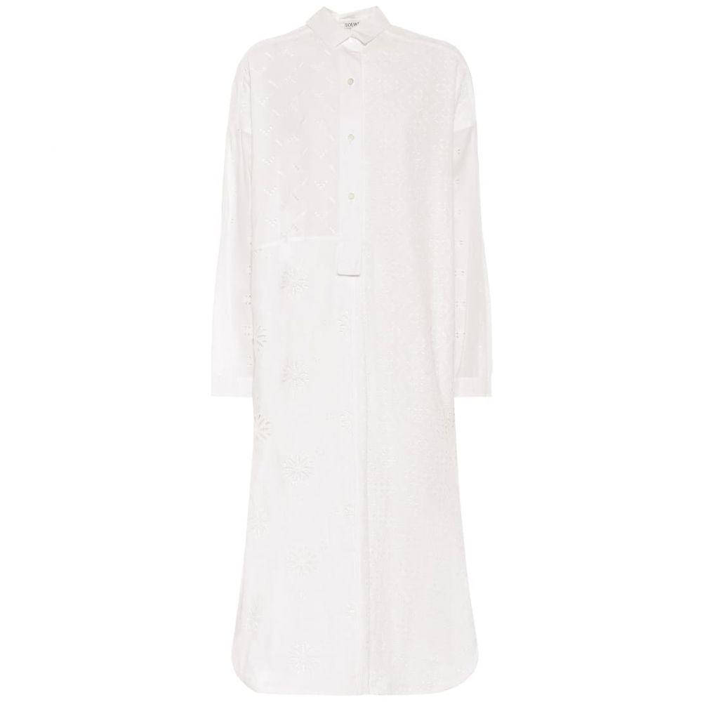 ロエベ Loewe レディース ワンピース シャツワンピース ワンピース・ドレス【Cotton broderie anglaise shirt dress】White