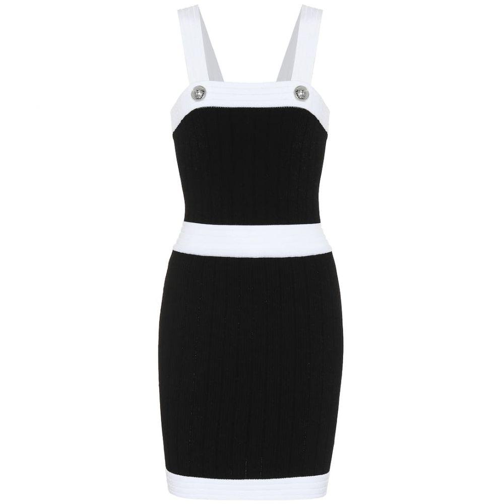 バルマン Balmain レディース パーティードレス ワンピース・ドレス【Bodycon minidress】Noir/Blanc