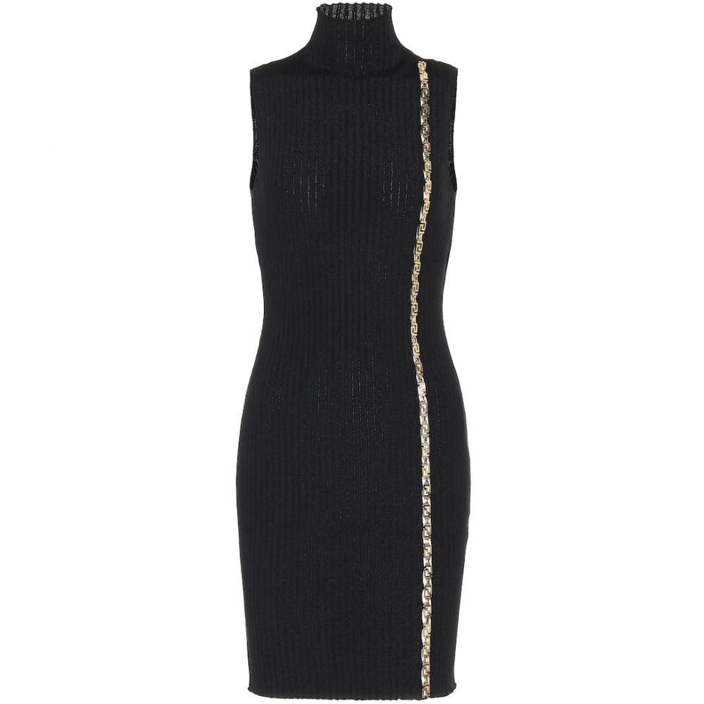 ヴェルサーチ Versace レディース パーティードレス ワンピース・ドレス【Embellished stretch-wool dress】Nero