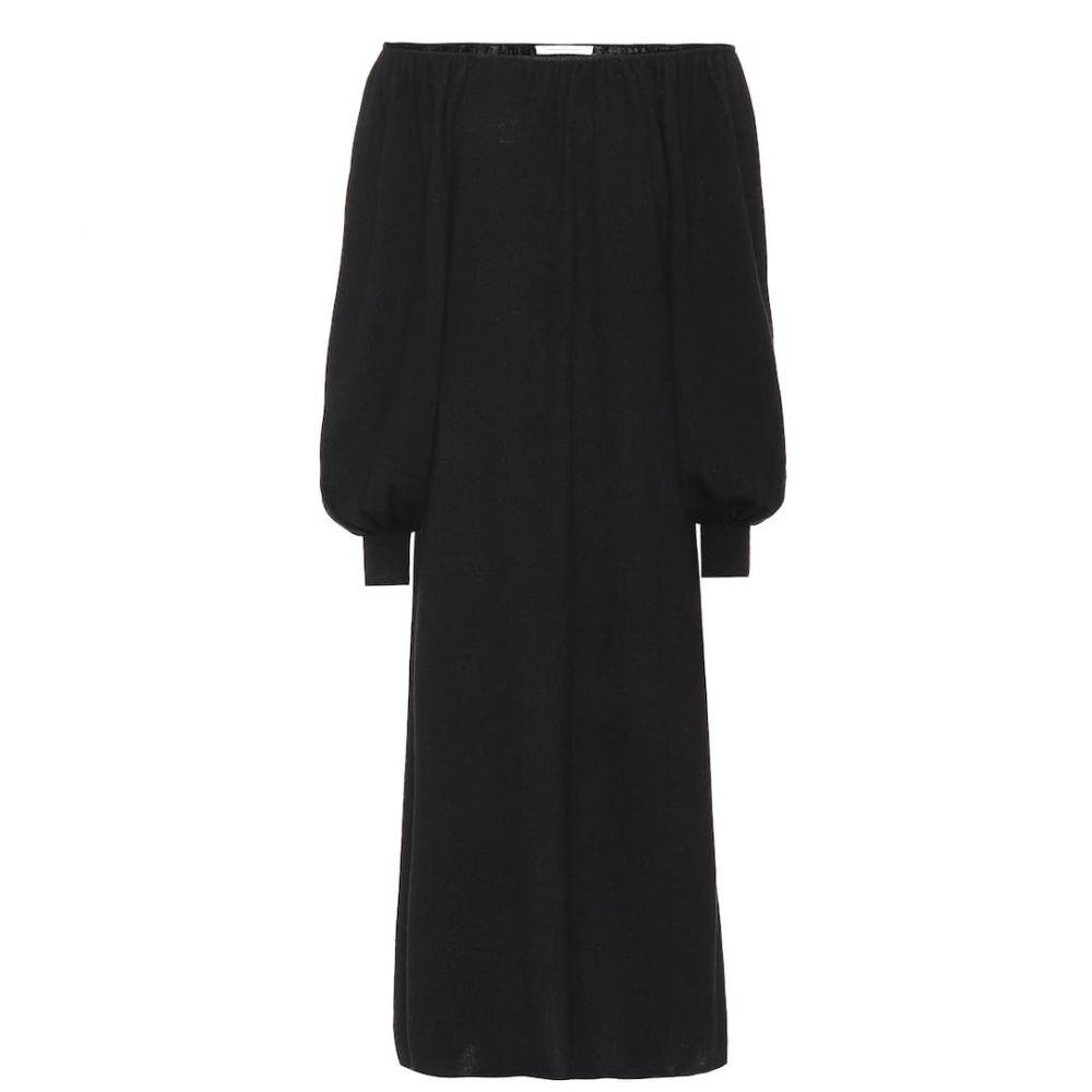 ライアンロッシュ Ryan Roche レディース ワンピース ミドル丈 ワンピース・ドレス【Off-the-shoulder cashmere midi dress】Black