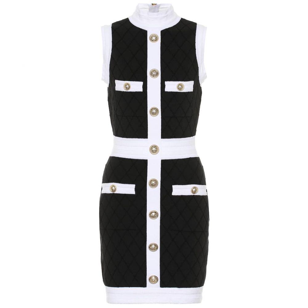 バルマン Balmain レディース ワンピース ワンピース・ドレス【Boucle cotton-blend dress】Noir/Blanc