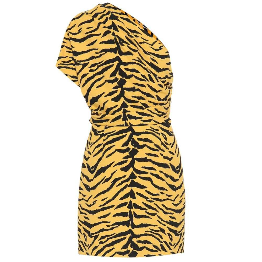 イヴ サンローラン Saint Laurent レディース ワンピース ワンショルダー ワンピース・ドレス【One-shoulder zebra-print minidress】Bouton D Or Noir