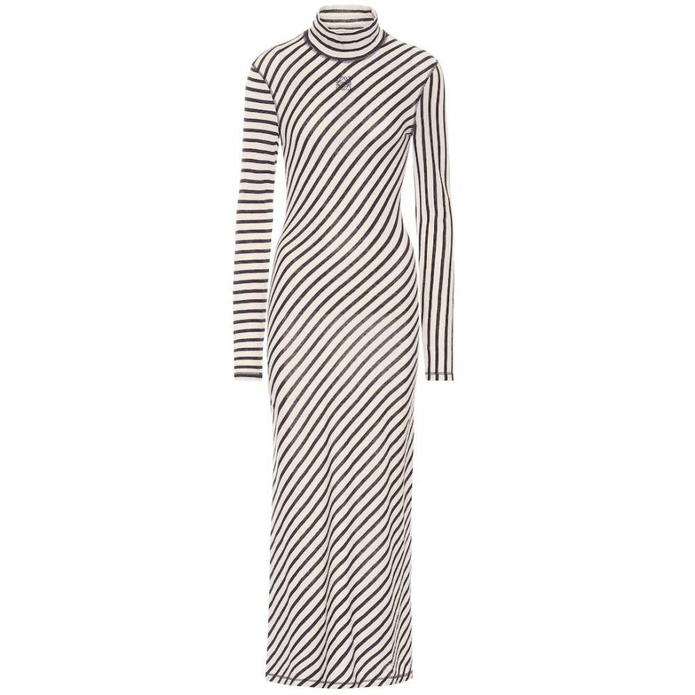 ロエベ Loewe レディース ワンピース マキシ丈 ワンピース・ドレス【Striped cotton maxi dress】Navy/White