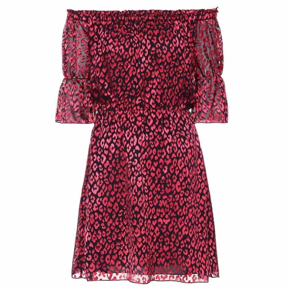 イヴ サンローラン Saint Laurent レディース ワンピース ワンピース・ドレス【Leopard silk-blend minidress】Noir Rouge