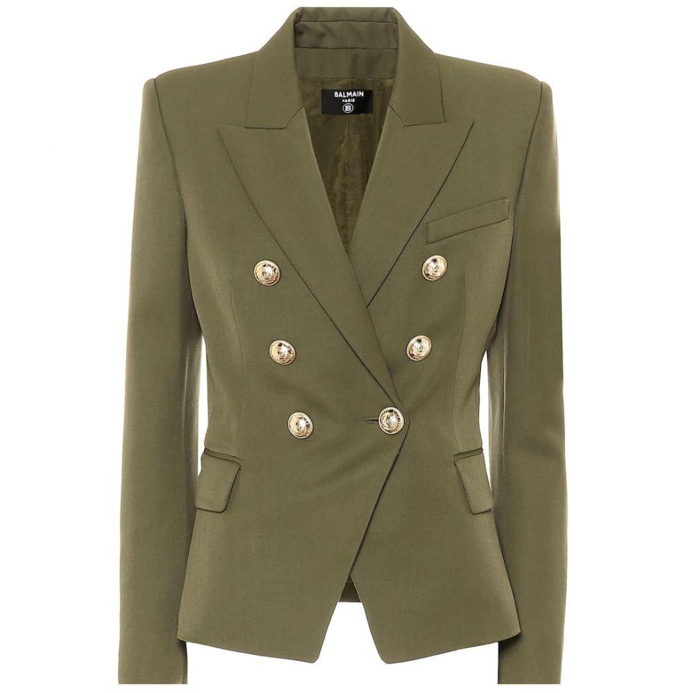バルマン Balmain レディース スーツ・ジャケット アウター【embellished wool blazer】Kaki