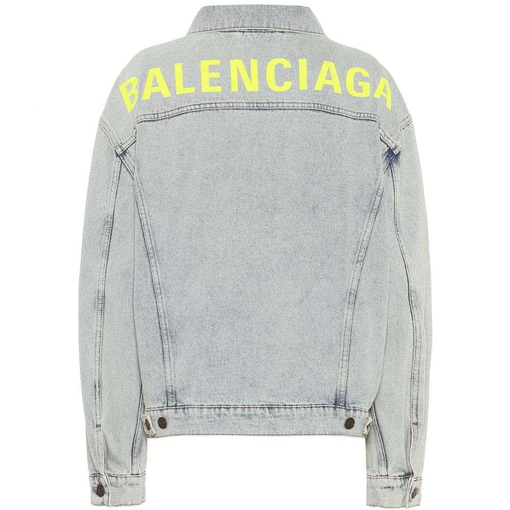 バレンシアガ Balenciaga レディース ジャケット Gジャン アウター【logo oversized denim jacket】80's Dirt Bleach Blu