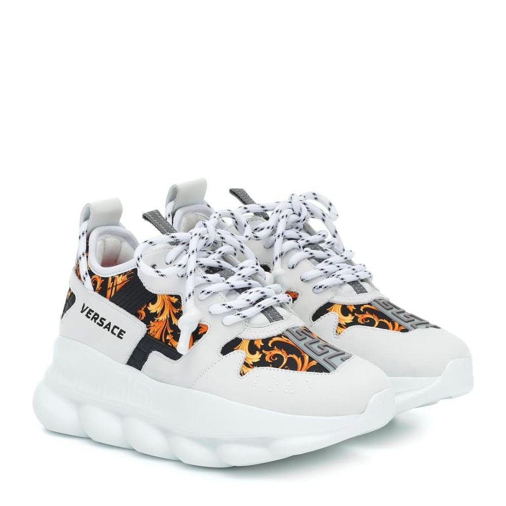 ヴェルサーチ Versace レディース スニーカー シューズ・靴【chain reaction 2 printed sneakers】White/Black/Gold