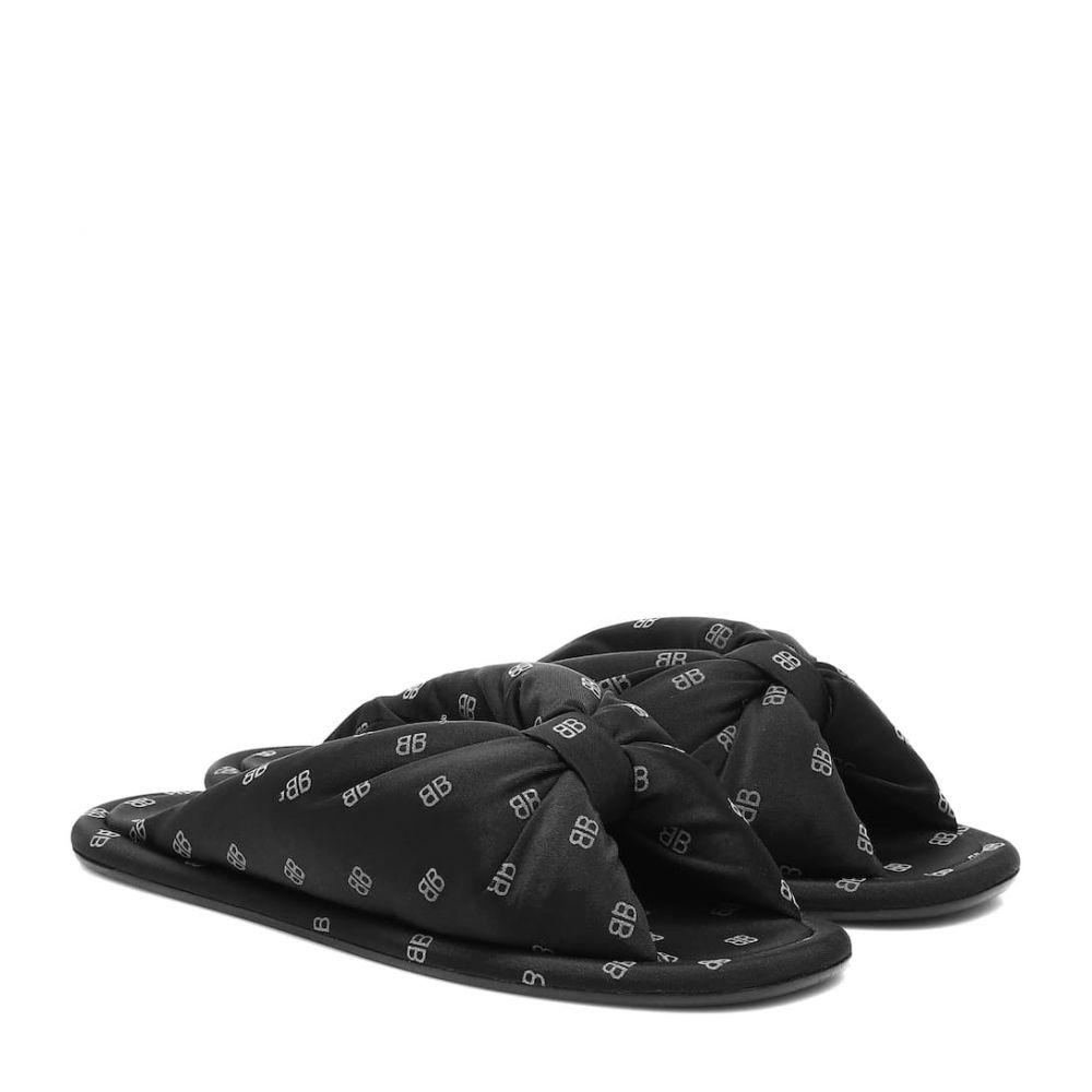 バレンシアガ Balenciaga レディース サンダル・ミュール シューズ・靴【bb satin slides】Black/Silver